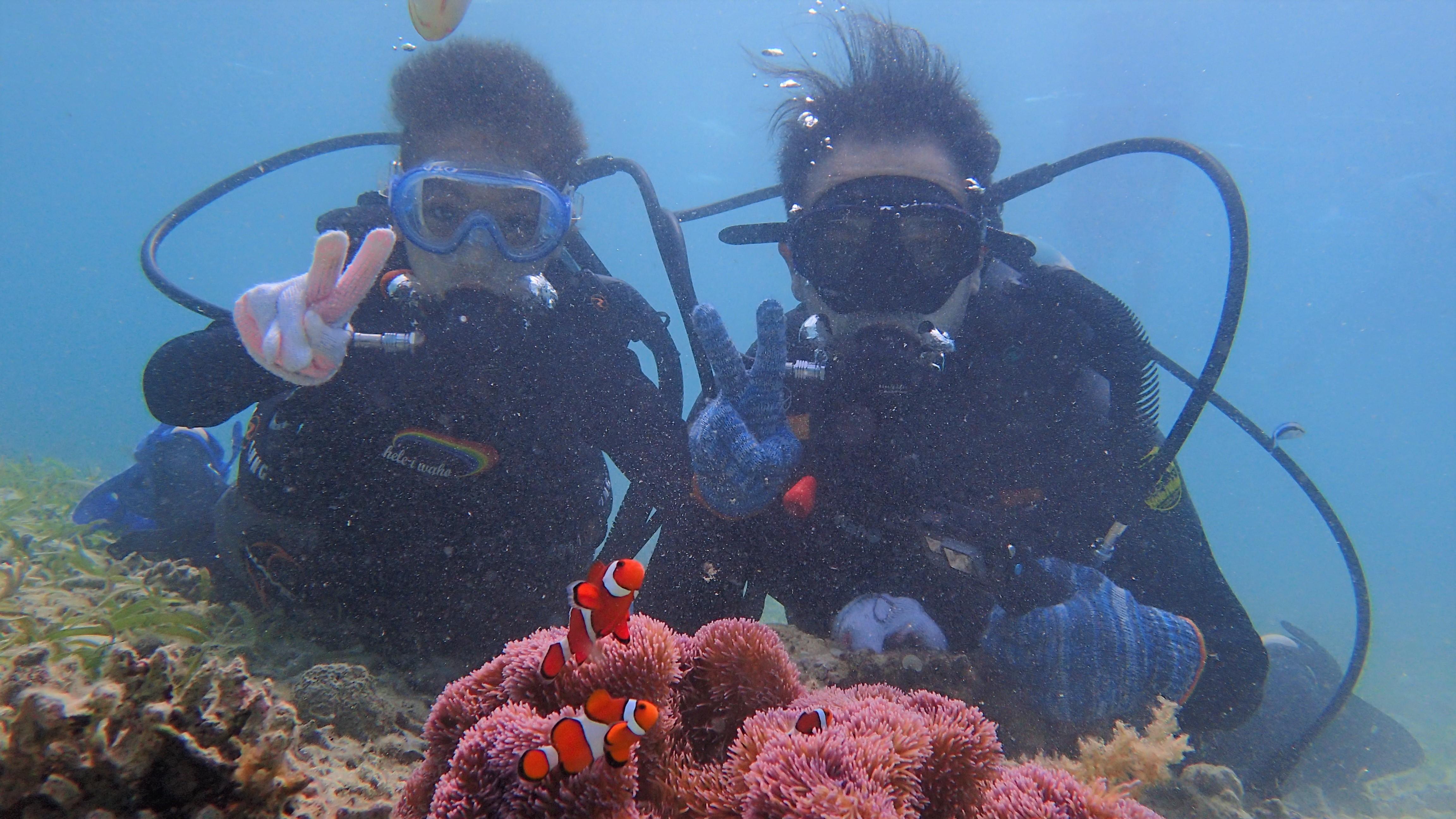 親子で体験diving!パパと息子